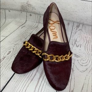 Sam Edelman Burgundy Calf Hair Loafers Size 10